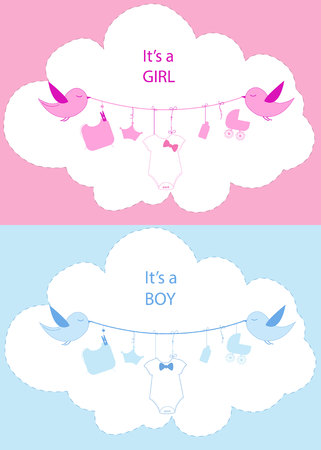 Its a girl. Its a boy. Baby shower baby girl. Hanging baby symbol with birds