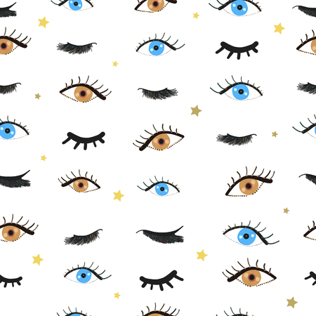 Beauty blue and brown eyes. Opened and closed eyes. Eyelashes pattern