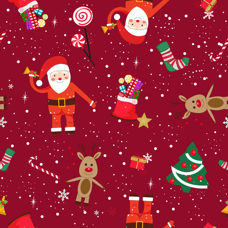 New year theme seamless pattern. Santa Claus with red ribbon
