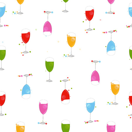colorful coctail party wine glasses happy new year greeting card stock vector 112140276