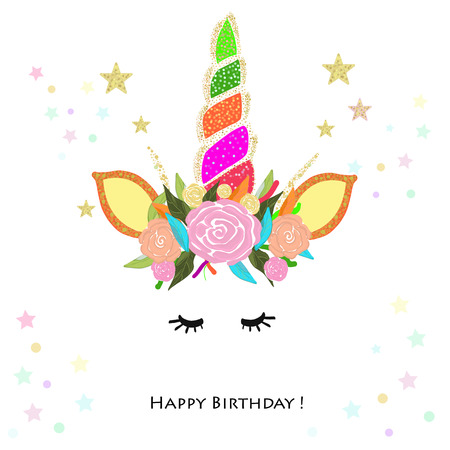 Colorful unicorn Birthday invitation. Baby shower Ilustração