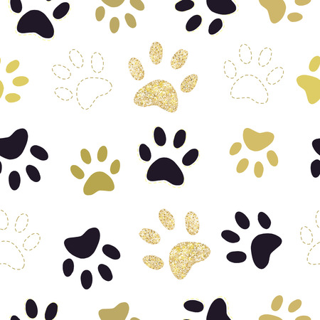 Gold and black paw prints Stock Illustratie
