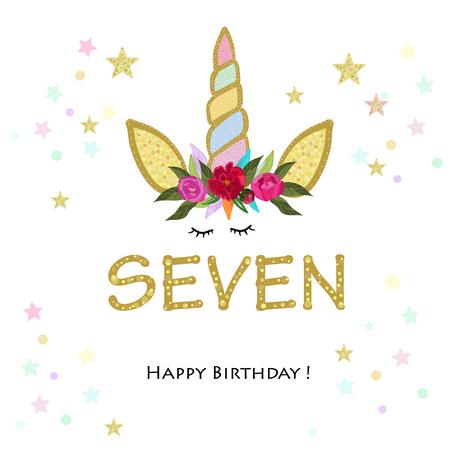 Seventh birthday. Loving. Unicorn Birthday invitation. Party invitation greeting card