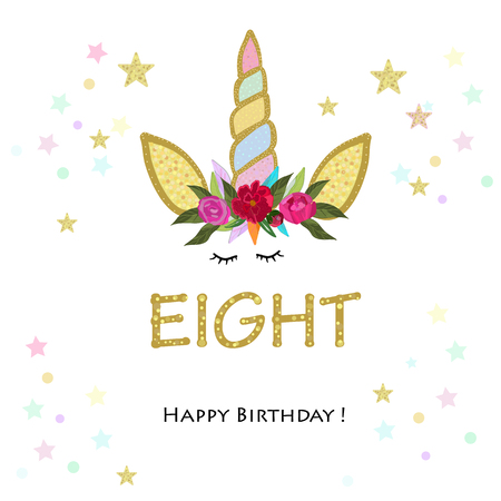 Eighth birthday. Eight. Unicorn Birthday invitation. Party invitation greeting card Ilustração