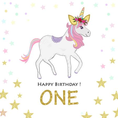 First birthday. Forward. Unicorn Birthday invitation. Party invitation greeting card