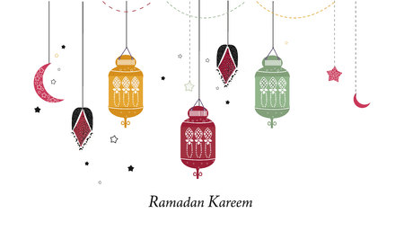 Ramadan Kareem with lamps, crescents and stars. Traditional black lantern of Ramadan