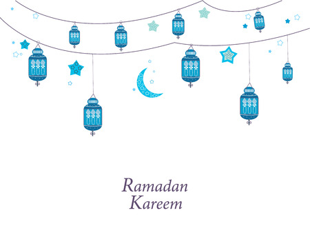 Ramadan Kareem with lamps, crescents and stars. Traditional blue lantern of Ramadan greeting card
