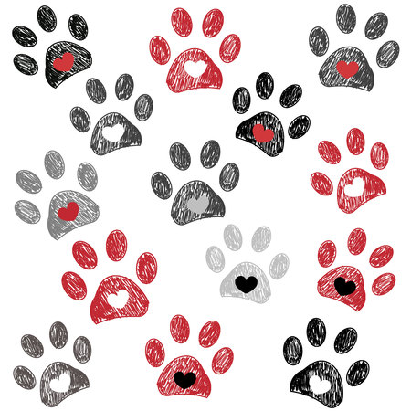Red heart with paw prints background Stock Illustratie