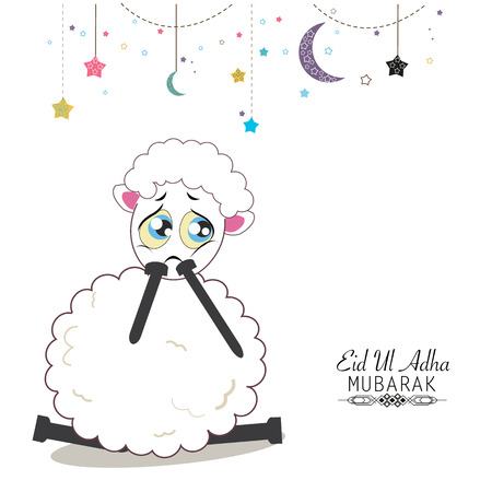 Funny sad sheep. Islamic festival of sacrifice, eid al adha celebration greeting card
