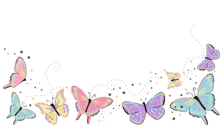 Colorful butterflies abstract spring background Ilustrace
