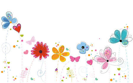 Abstract decorative summer flowers