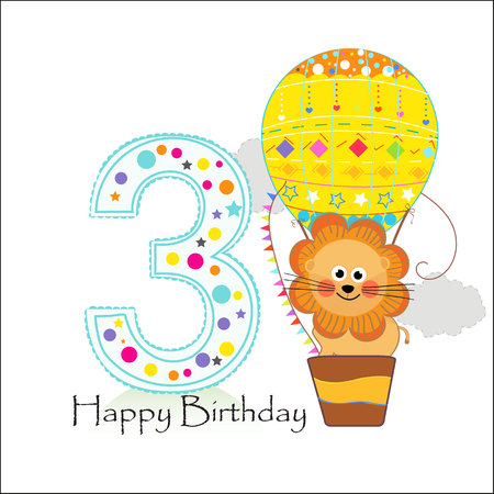 Air balloon and lion. Happy birthday greeting card