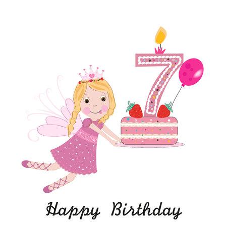 Seventh birthday greeting card. Cute fairy holding cake