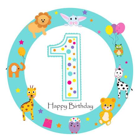 Biglietto di auguri per il primo compleanno del bambino. Buon primo compleanno candela