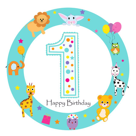 First birthday baby greeting card. Happy first birthday candle