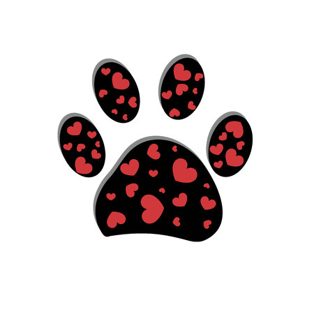 Black and red paw print