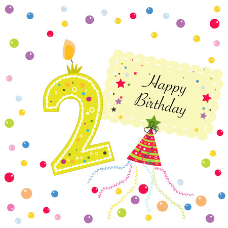 Birthday greeting card with colorful balloon Standard-Bild - 112143295