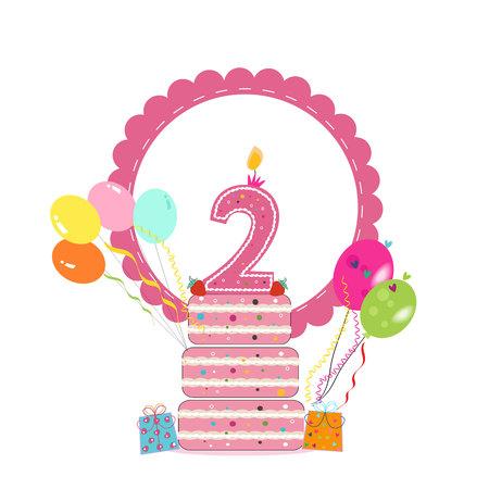 Carte d'anniversaire avec cadre, gâteau et ballon