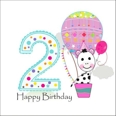 Air Balloon And Zebra Happy Birthday Greeting Card Royalty Free