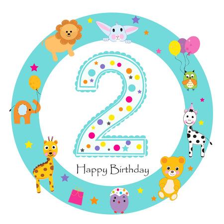 Carte de voeux de deuxième anniversaire pour bébé. Bougie joyeux premier anniversaire