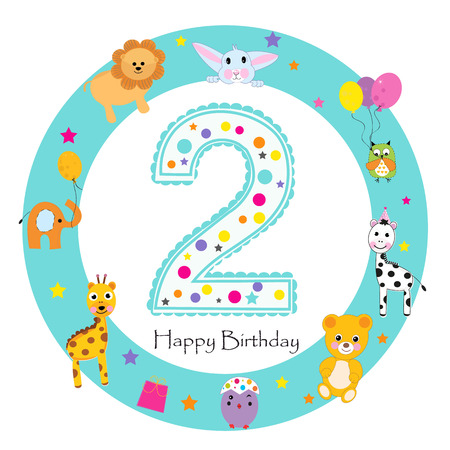 Second birthday baby greeting card. Happy first birthday candle 向量圖像