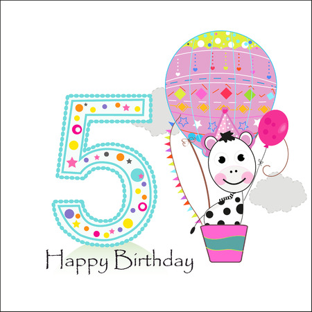 Air balloon and zebra. Happy birthday greeting card