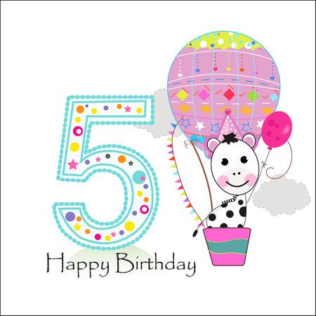 Globo de aire y cebra. Feliz cumpleaños, tarjeta de felicitación Ilustración de vector