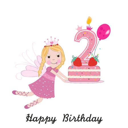 Deuxième carte de voeux d'anniversaire. Gâteau de tenue de fée mignonne Vecteurs