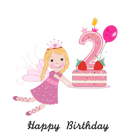 Second birthday greeting card. Cute fairy holding cake