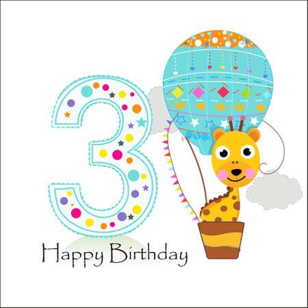 Third birthday with hot air balloon and giraffe. Happy birthday greeting card Ilustração