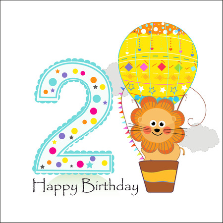 Two balloons and lion. Happy birthday greeting card
