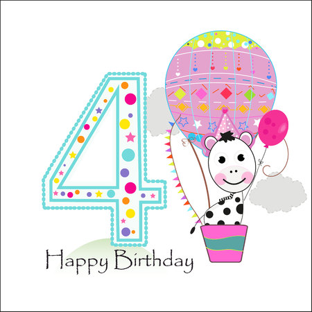 Four balloons and zebra. Happy birthday greeting card Illustration
