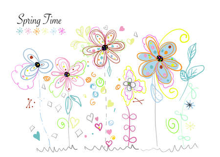 Spring time colorful cute modern doodle flowers
