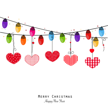 Colorful Christmas light bulb and hearts. Happy new year greeting card vector.