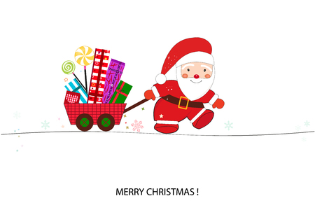 Santa claus with gift box. Happy new year and merry christmas greeting card