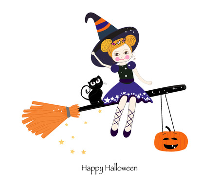 Cute witch happy halloween greeting card Standard-Bild - 112533313