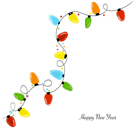 Christmas light bulb. Happy new year greeting card Illustration