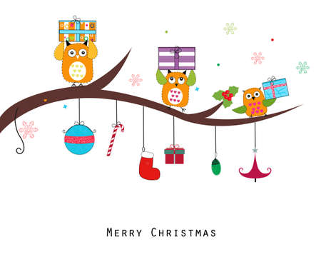 Owl with gift box. Merry Christmas and Happy New Year. Illustration