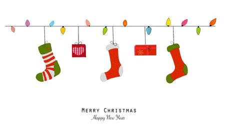 Merry Christmas and happy new year greeting card. Light bulb, christmas socks and gift box