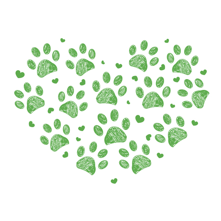 Heart made of paw print Illustration