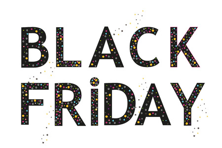 Black Friday. Banner, template with colorful sprinkles