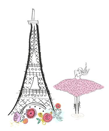 Eiffel tower Hand drawn greeting card