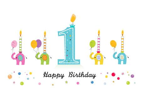 Carte de voeux joyeux anniversaire avec éléphant et bougies