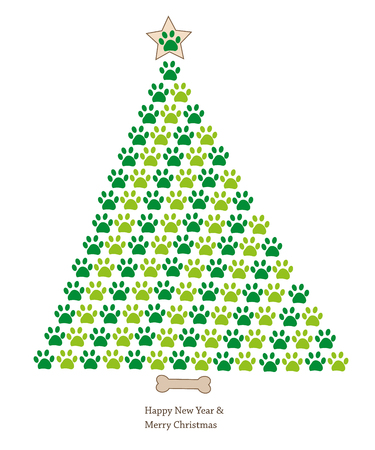 Christmas tree made of paw prints. Happy new year greeting card Banque d'images - 112533106