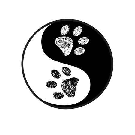Ying yang made paw print black white background