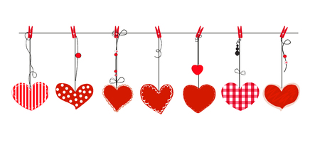 Hanging red hearts vector. Happy valentines day greeting card