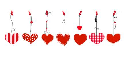 Vector de corazones rojos colgantes. Feliz dia de san valentin tarjeta de felicitacion