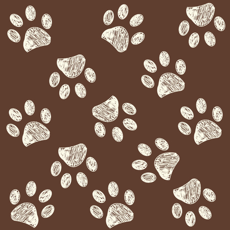 Paw print with brown colored background
