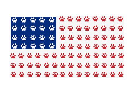 American flag made of paw prints Illusztráció