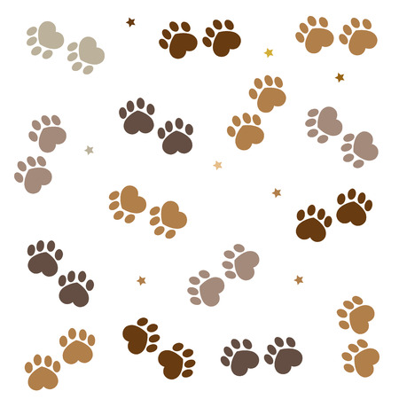 Brown paw print made of heart background